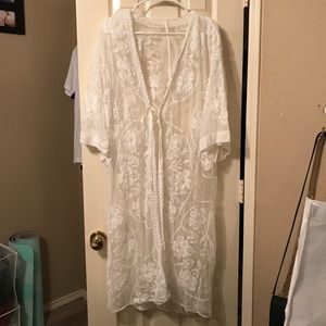 Other - Sheer lace front tie kimono coverup